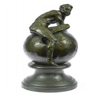 Nude Male Resting on Top of the World Bronze Sculpture