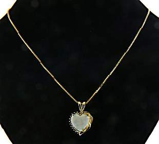 Charming Opal and Emerald Heart Pendant Necklace