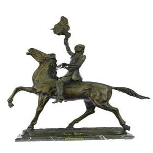 Buffalo Signal Native American on Horse Bronze
