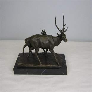 Caribou Buck Bronze Sculpture