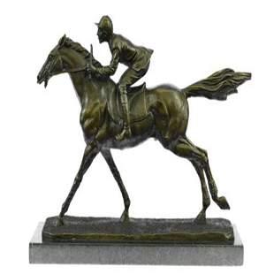 Jockey on Race Horse Bronze Sculpture
