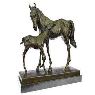 Mare And Foal Horse Bronze Sculpture