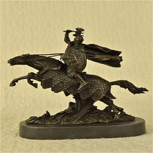 Japanese Samurai Warrior on Horse Bronze Statue