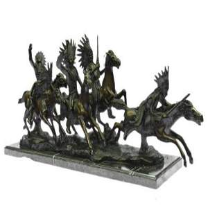 Five Indian on Horse Bronze Sculpture