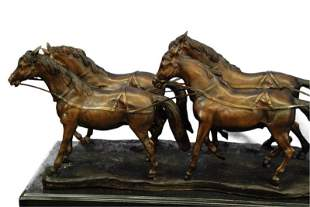 Stagecoach Horses Bronze Sculpture