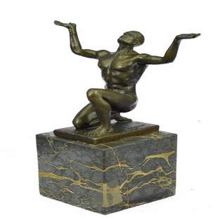 Nude Naked Male Athlete Bronze Sculpture
