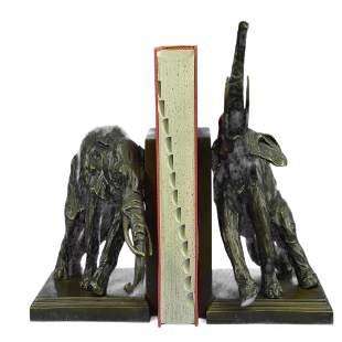 Pair of Elephant Bookends Bronze Sculpture