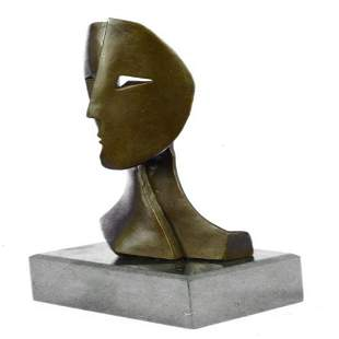 Depicting Two Faces Mask Modern Bronze Sculpture