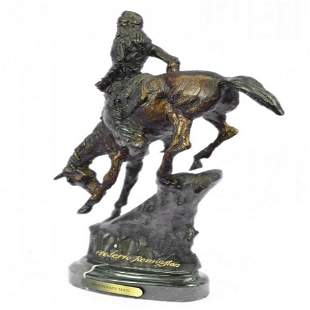 Chief Riding Horse on a Rock Bronze Sculpture