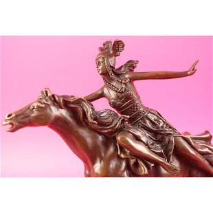 Amazon Warrior Ride Horse Bronze Sculpture