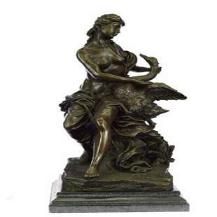 Woman and Swan Bronze Statue