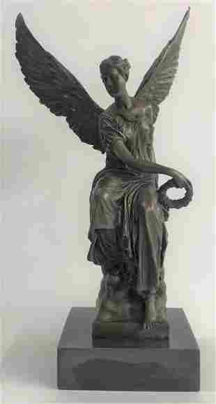 Beautiful Angel sits on Celestial Throne Bronze