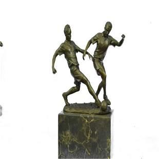 Two Soccer Player Bronze Sculpture