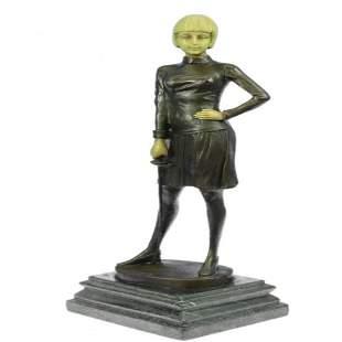Fencer with Faux Bone holding Foil Bronze Sculpture