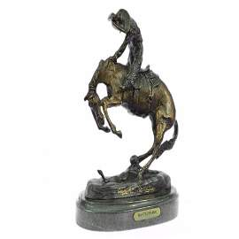 Batteling a Rattle and Snake Bronze Statue