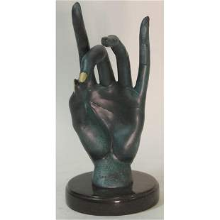 Human Face Bronze Sculpture with Special Patina Statue