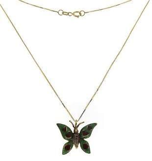 Pretty Enamel Heart 7 Diamond Accent Butterfly Necklace