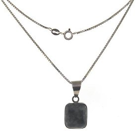 Sterling Silver Square Dark Green Gemstone Necklace