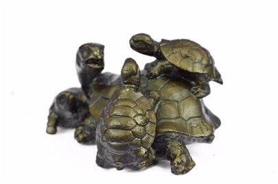 Turtle Family Bronze Figurine