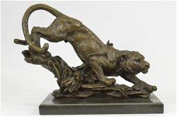 African Tiger Bronze Sculpture