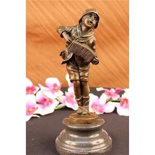Boy with Accordion Bronze Sculpture