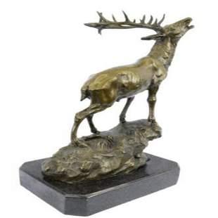 Elk Stag Buck Bronze Sculpture
