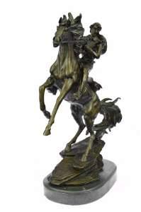 Western Cowboy Horse Rodeo Rider Bronze Marble Statue