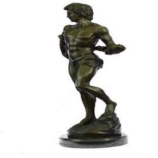 Nude Muscular Man Bronze Sculpture