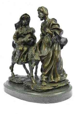 Flight into Egypt Biblical Event Holly Family Bronze