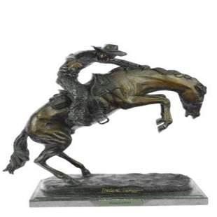 A Cowboy on Horse Woolly Chaps Bronze Sculpture