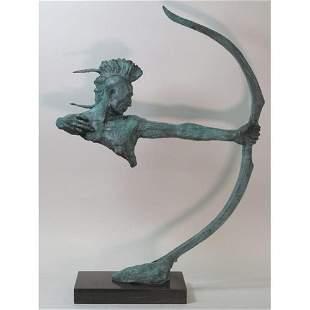 Special Patina Indian Male Warrior Bronze Sculpture