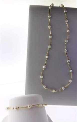 Set of Elegant Station Necklace and Bracelet