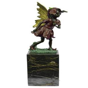 Gold Patina Guardian Butterfly Angel Bronze Figure
