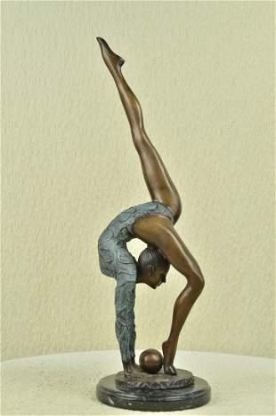Floor Kid Gymnast Bronze Sculpture