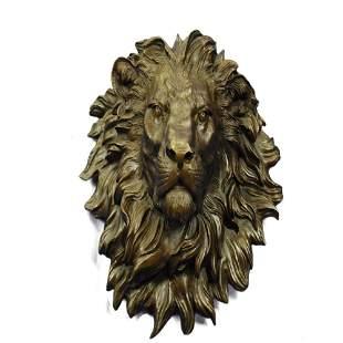 Wall Mount Lion Head Bust Bronze Statue