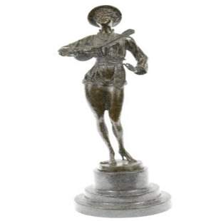 Woman Musician Bronze Sculpture