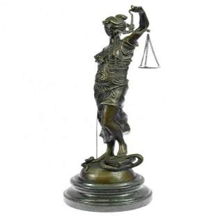 Blind Lady of Justice Bronze Statue