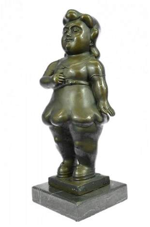 Young Girl Bronze Sculpture on Marble Base