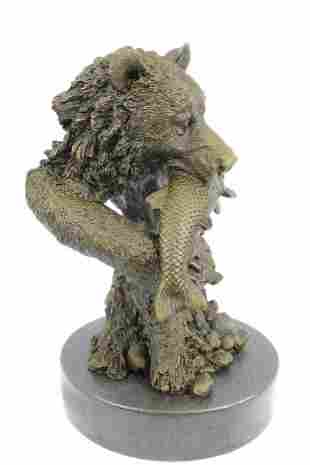 Bear Head Bust with Fish Bronze Sculpture