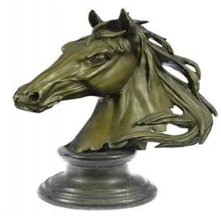 Horse Head Bust Bronze Statue