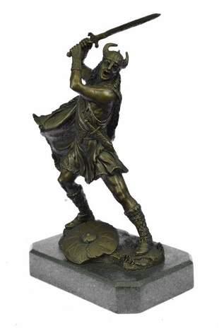 Viking Warrior Soldier Sword Bronze Sculpture