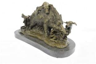 Wild Life Boar Hunting Dogs Bronze Sculpture
