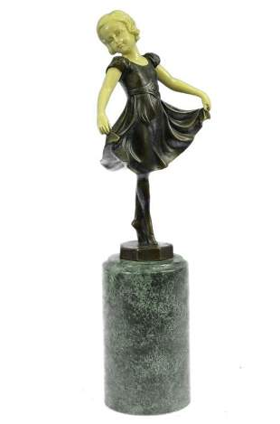 Young Baby Girl on Stage Bronze Sculpture