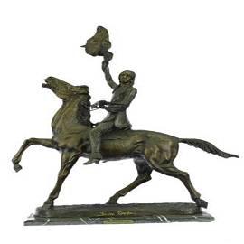 Buffalo Signal Native American on Horse Bronze