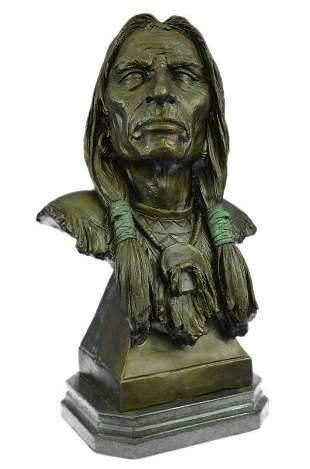 Indian Chief Bust Bronze Sculpture