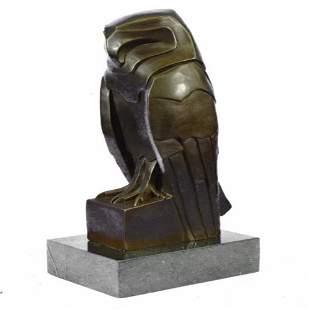 Modern Art Owl Bronze Sculpture on Marble Base Statue