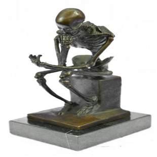Thinker Skeleton Bronze Sculpture
