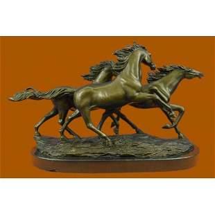 Wild Horse Galloping Mustang Ranch Bronze Figurine