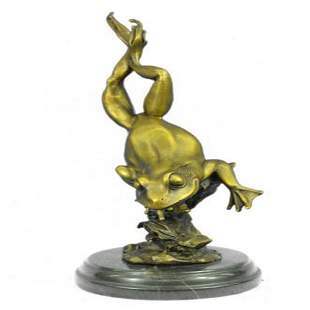 Gild Prince Frog Gold Patina Bronze Sculpture