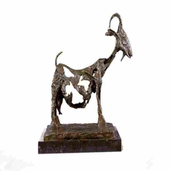 Stunning Farm Animal Goat Bronze Sculpture on Marble